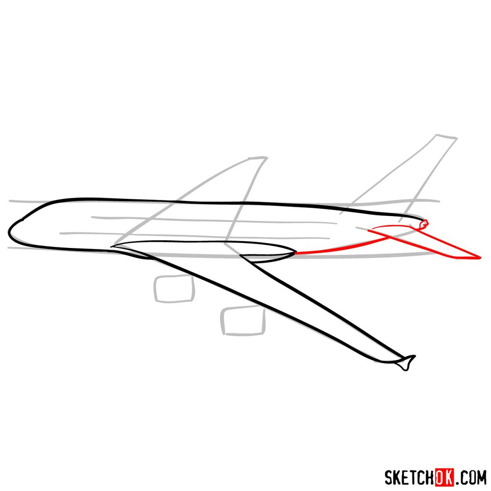 How to draw Airbus A380 side view - step 06