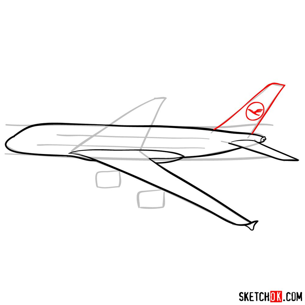 How to draw Airbus A380 side view - step 07