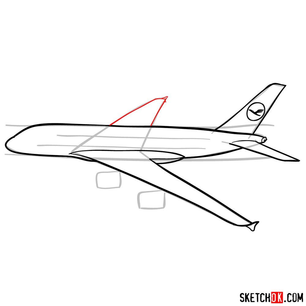 How to draw Airbus A380 side view - step 08