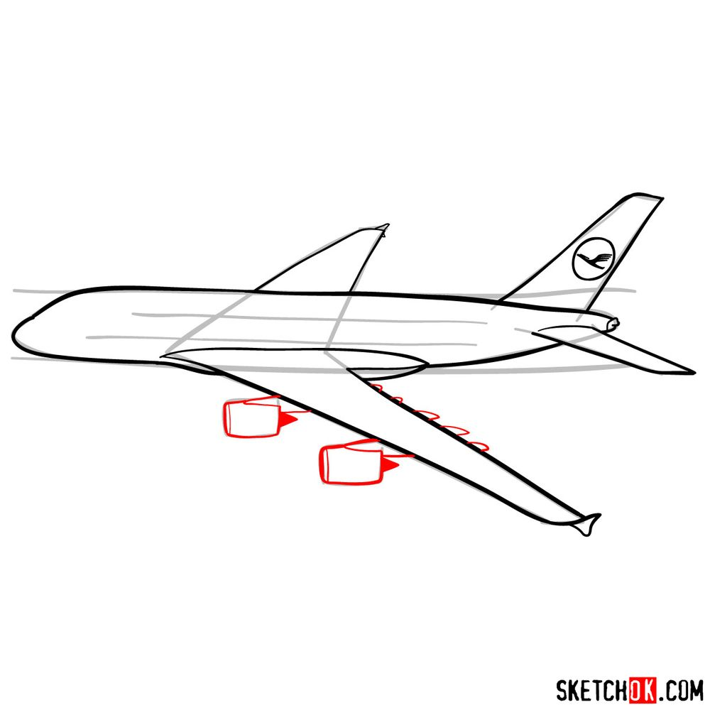 How to draw Airbus A380 side view - step 09