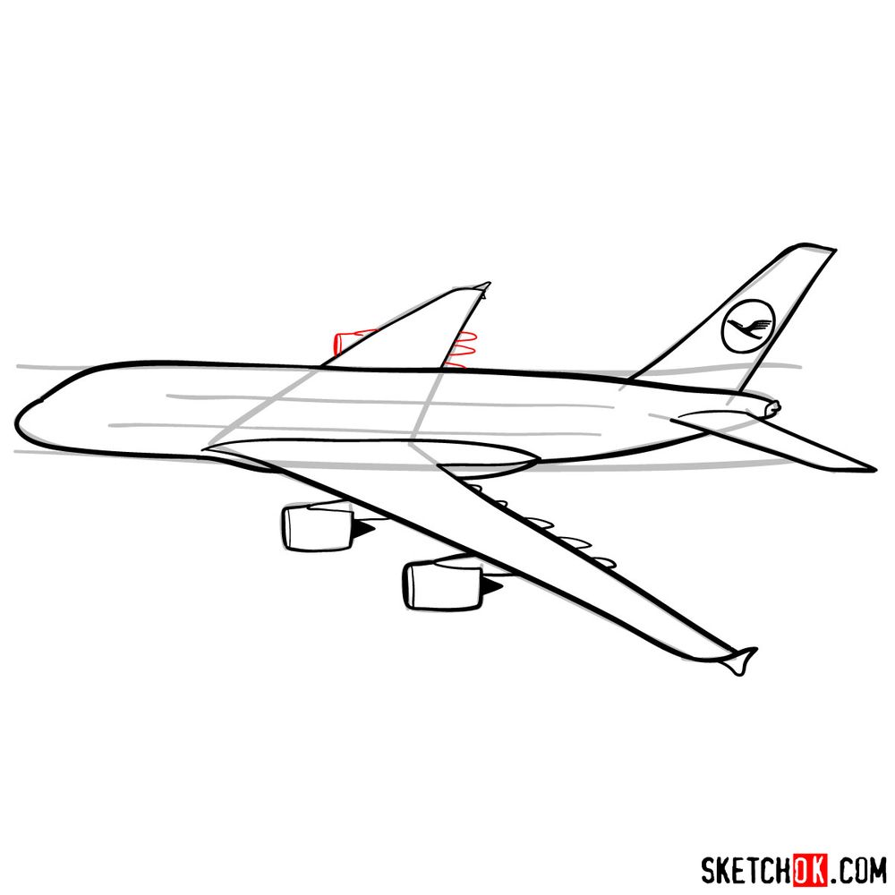 How to draw Airbus A380 side view - step 10