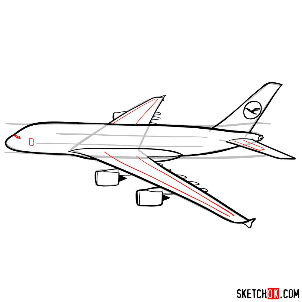 How to draw Airbus A380 side view - step 11