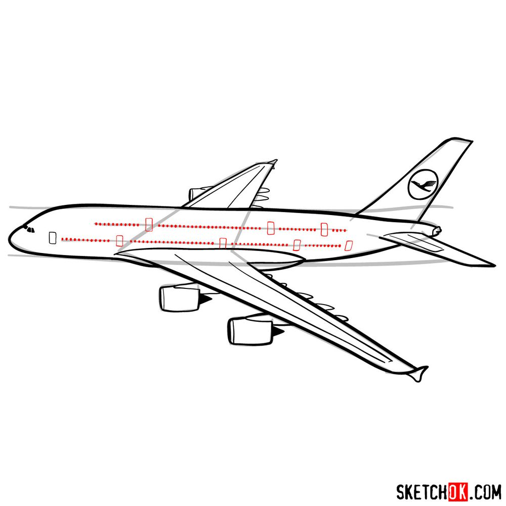 How to draw Airbus A380 side view - step 12