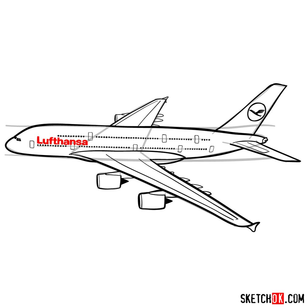 How to draw Airbus A380 side view - step 13