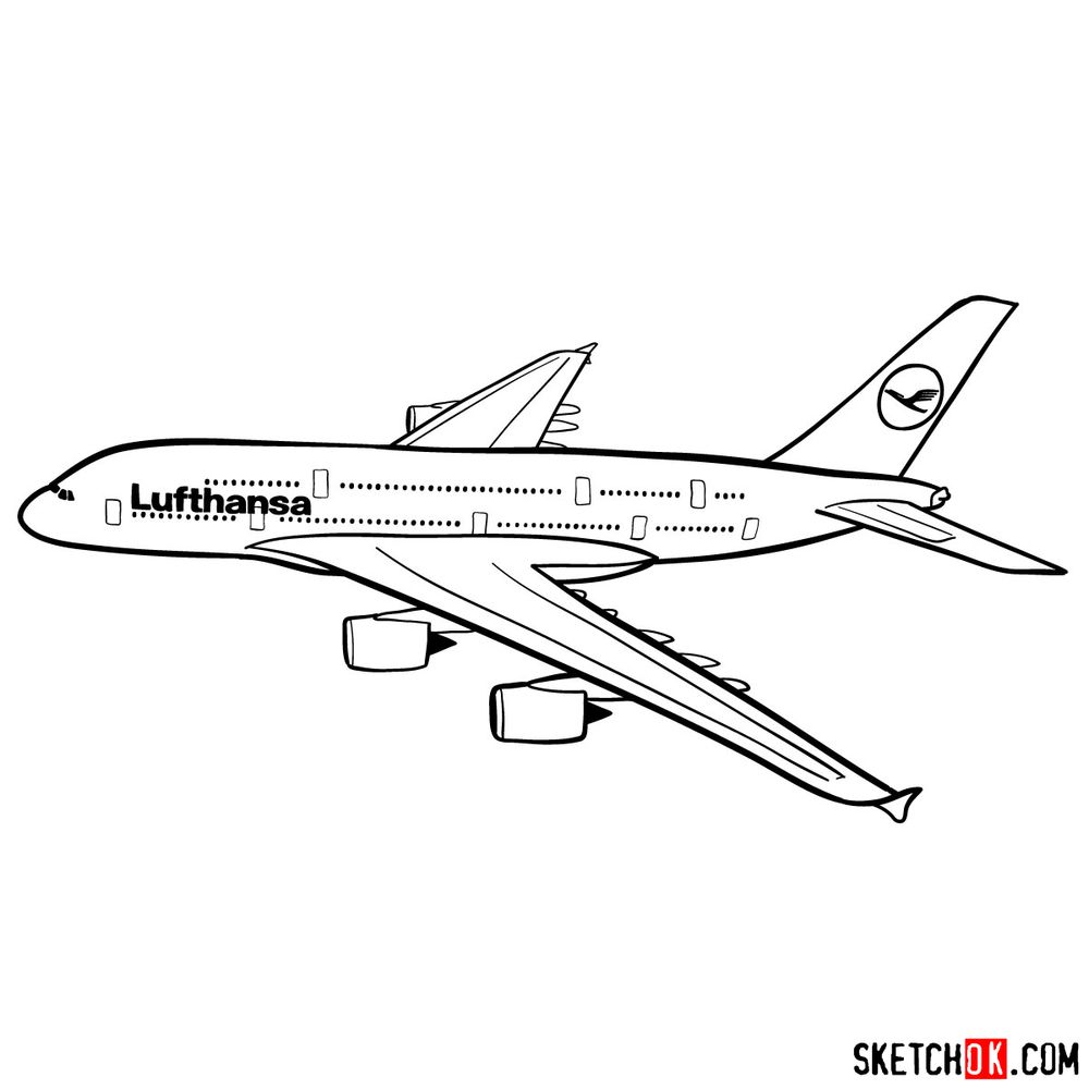How to draw Airbus A380 side view - step 14