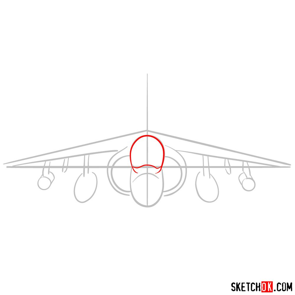 How to draw Hawker Siddeley Harrier British military jet - step 03