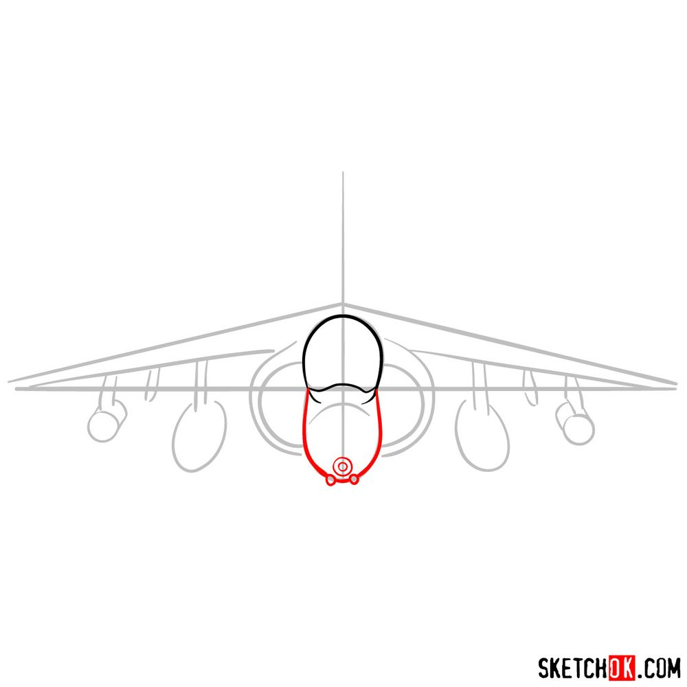 How to draw Hawker Siddeley Harrier British military jet - step 04