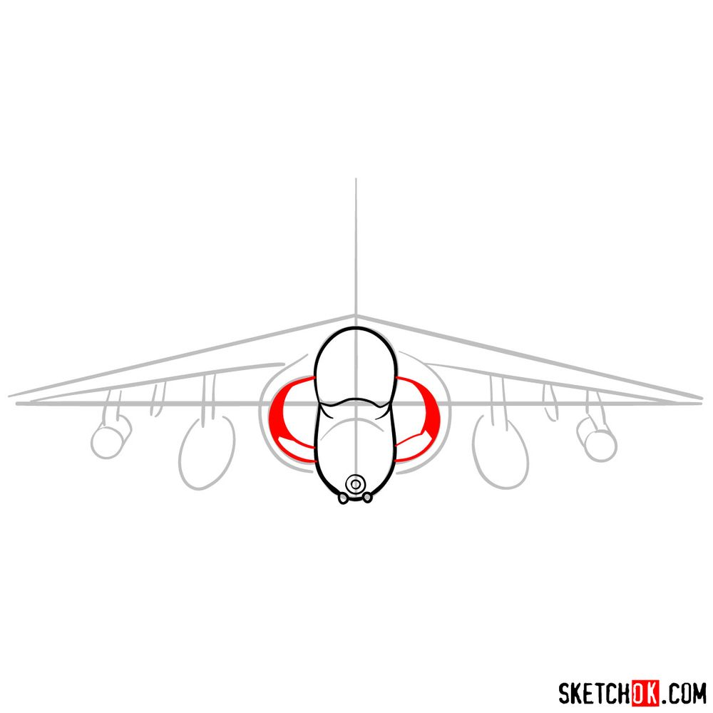 How to draw Hawker Siddeley Harrier British military jet - step 05