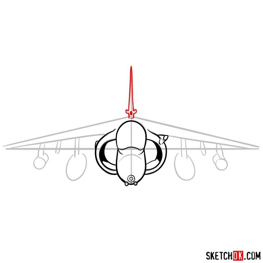 How to draw Hawker Siddeley Harrier British military jet - step 07