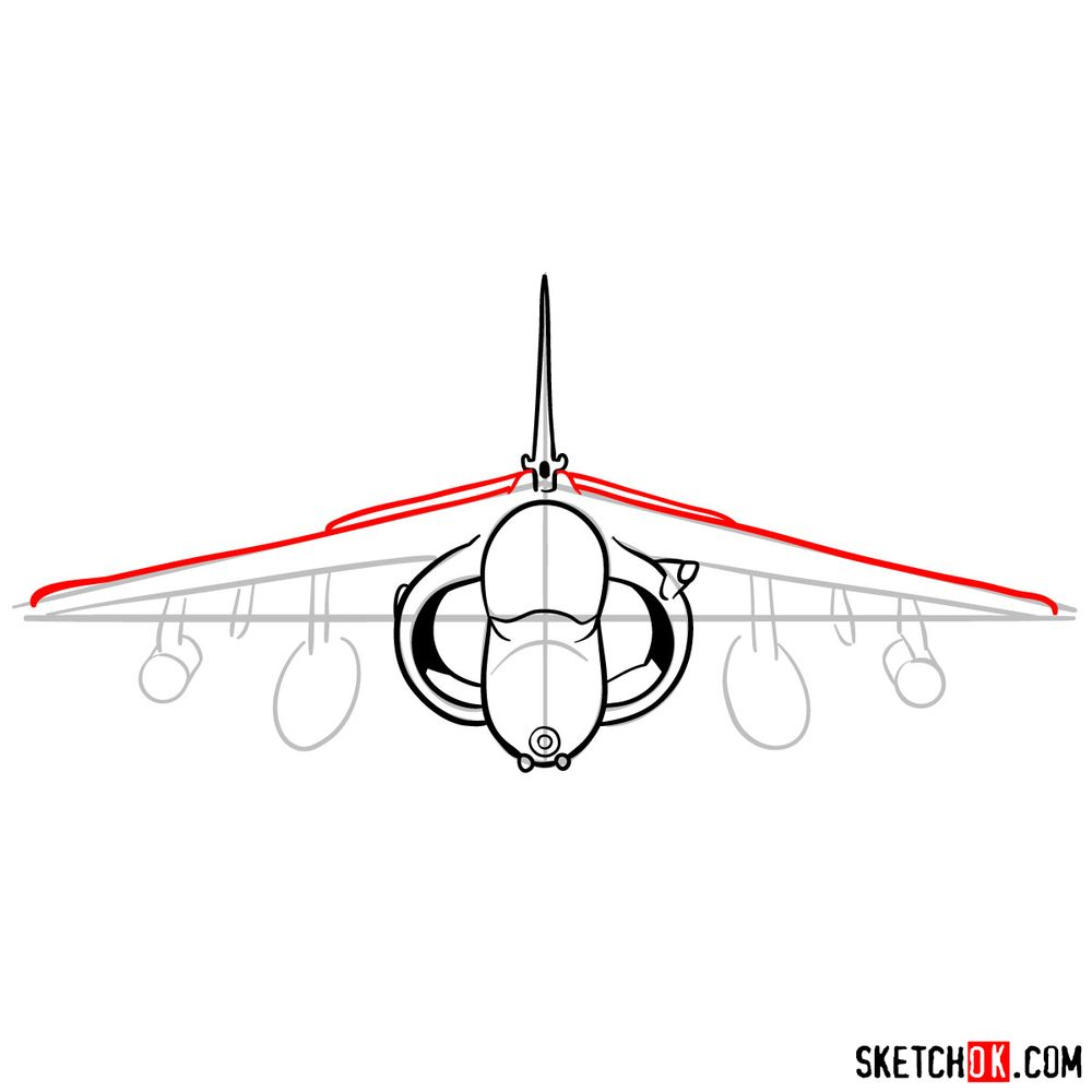 How to draw Hawker Siddeley Harrier British military jet - step 08