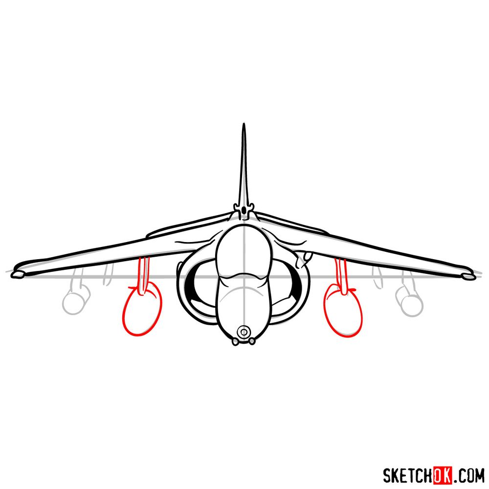 How to draw Hawker Siddeley Harrier British military jet - step 10