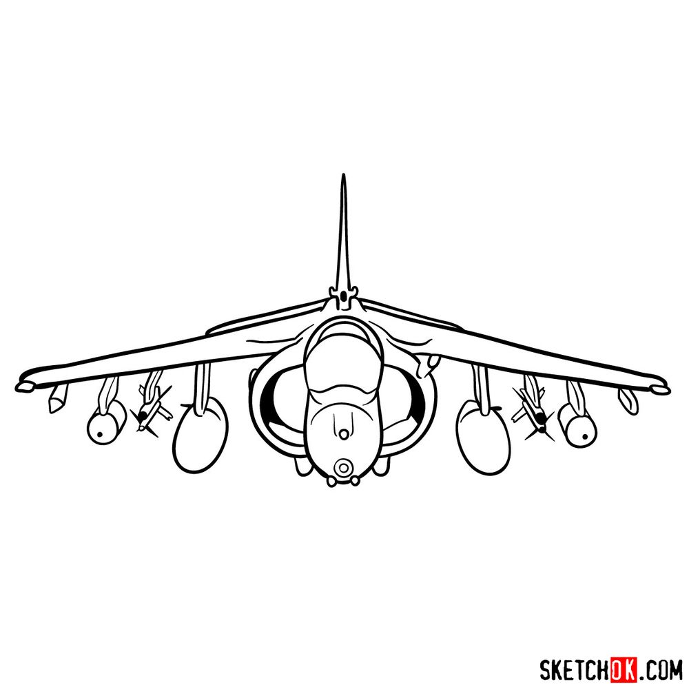 How to draw Hawker Siddeley Harrier British military jet - step 14