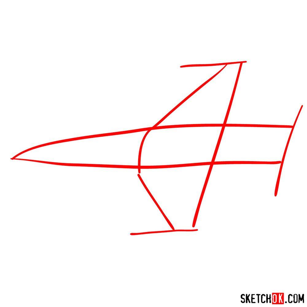 How to draw Lockheed Martin F-16 Fighting Falcon - step 01