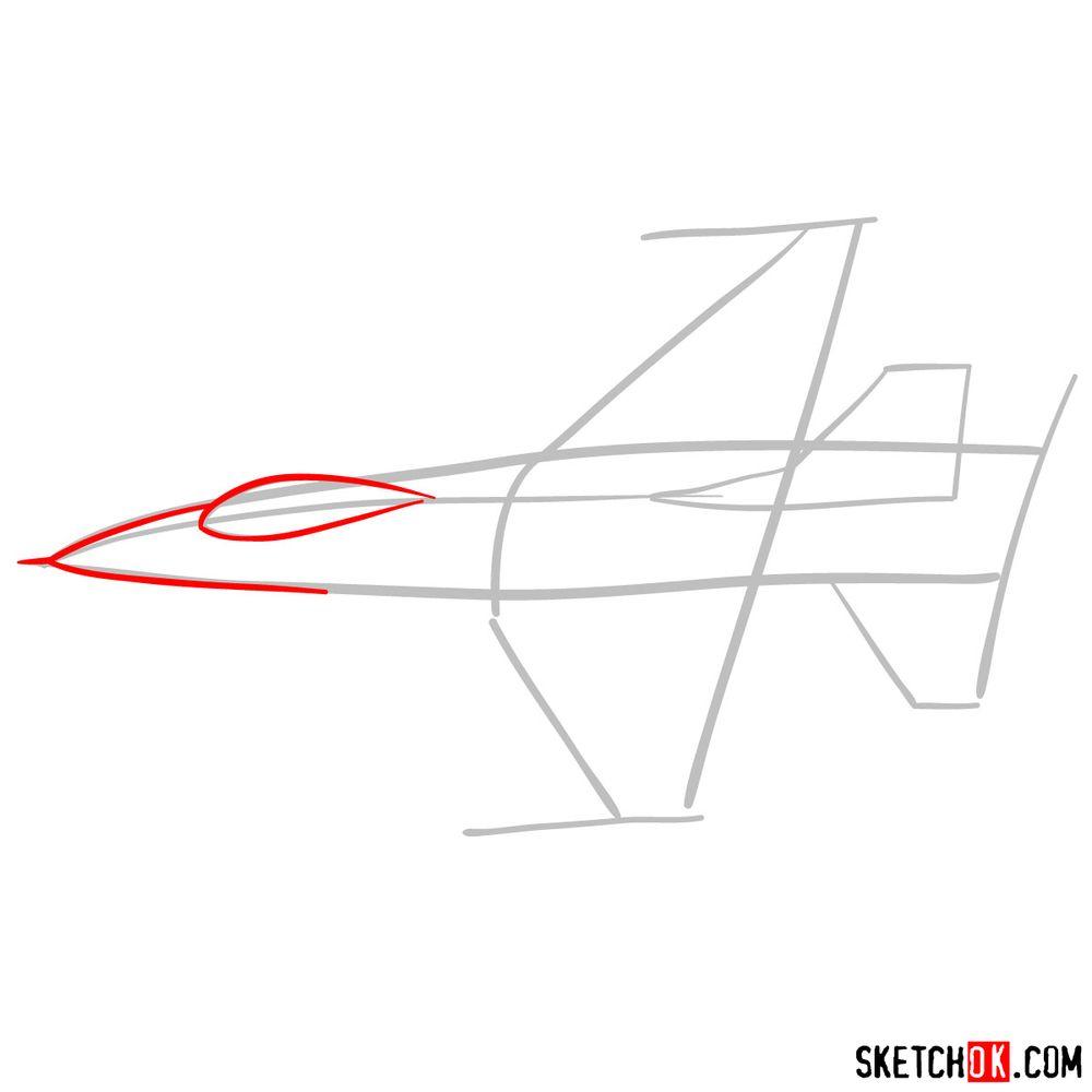 How to draw Lockheed Martin F-16 Fighting Falcon - step 03