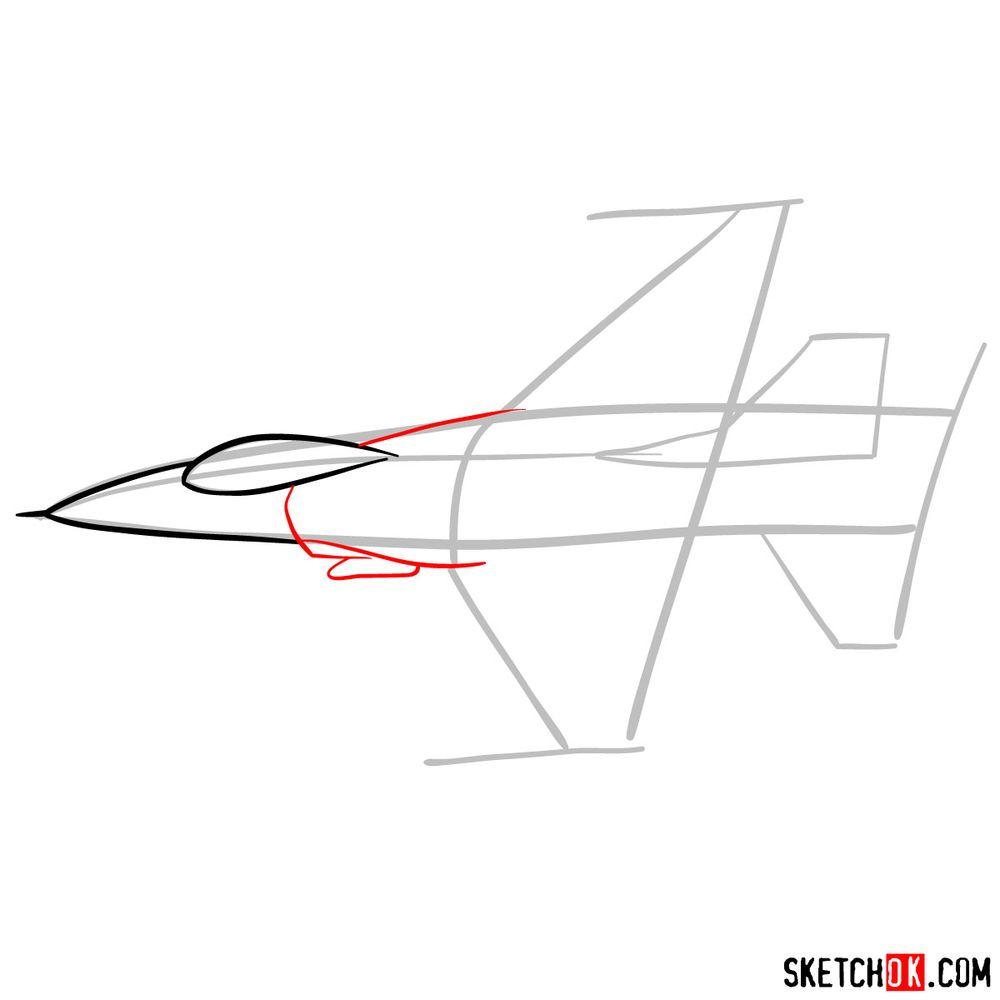 How to draw Lockheed Martin F-16 Fighting Falcon - step 04