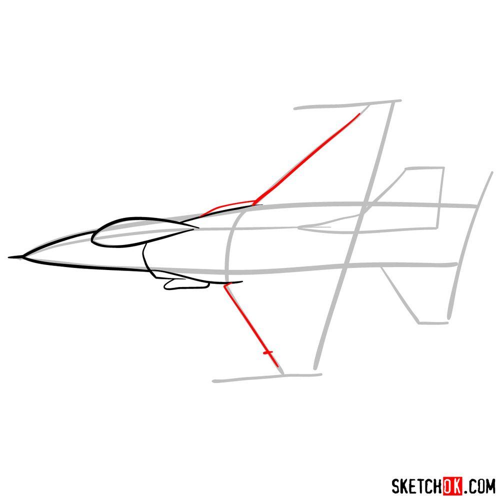 How to draw Lockheed Martin F-16 Fighting Falcon - step 05