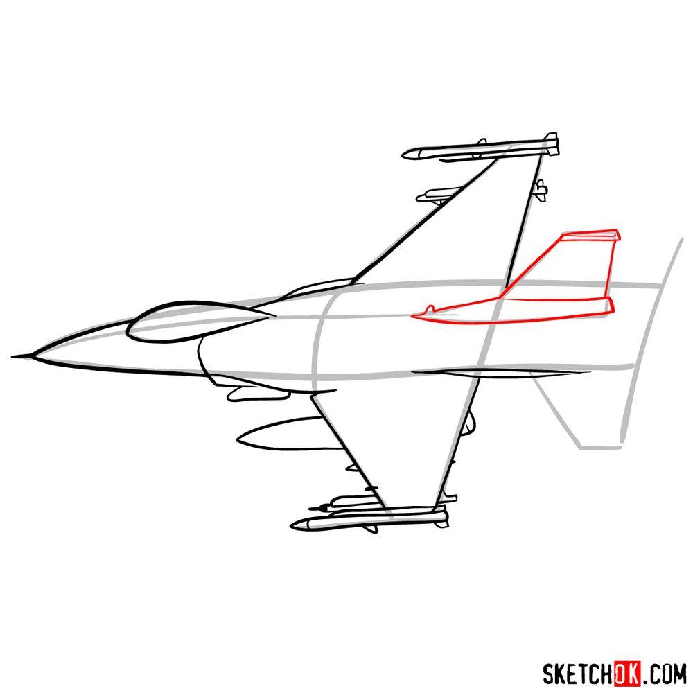How to draw Lockheed Martin F-16 Fighting Falcon - step 08