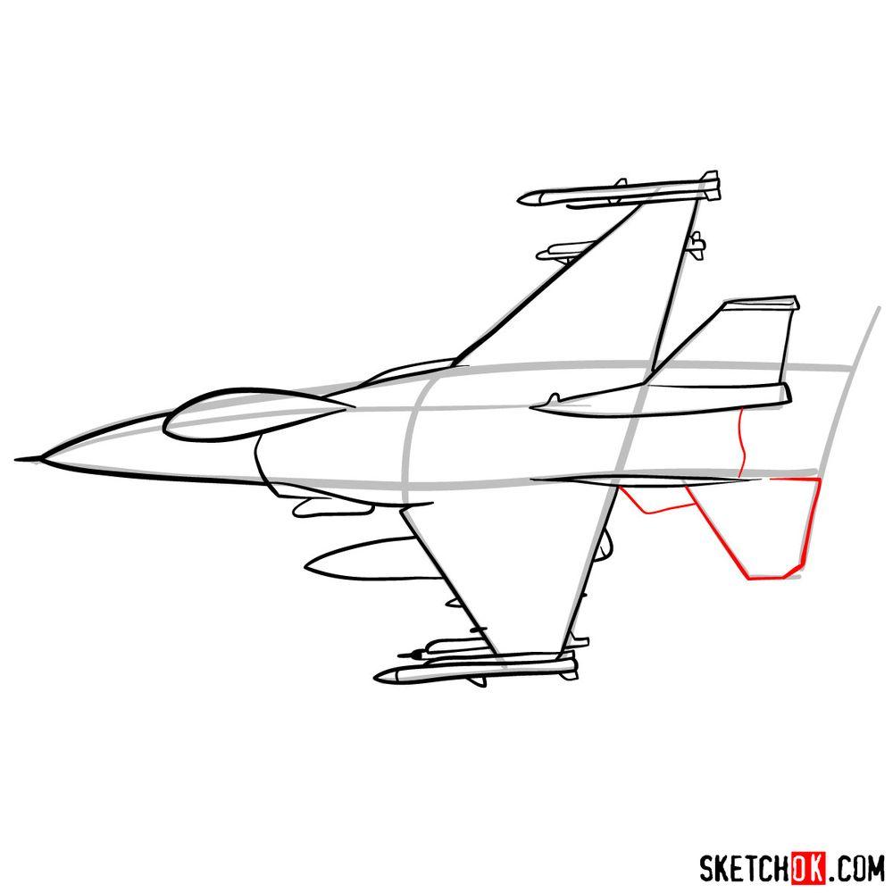 How to draw Lockheed Martin F-16 Fighting Falcon - step 09