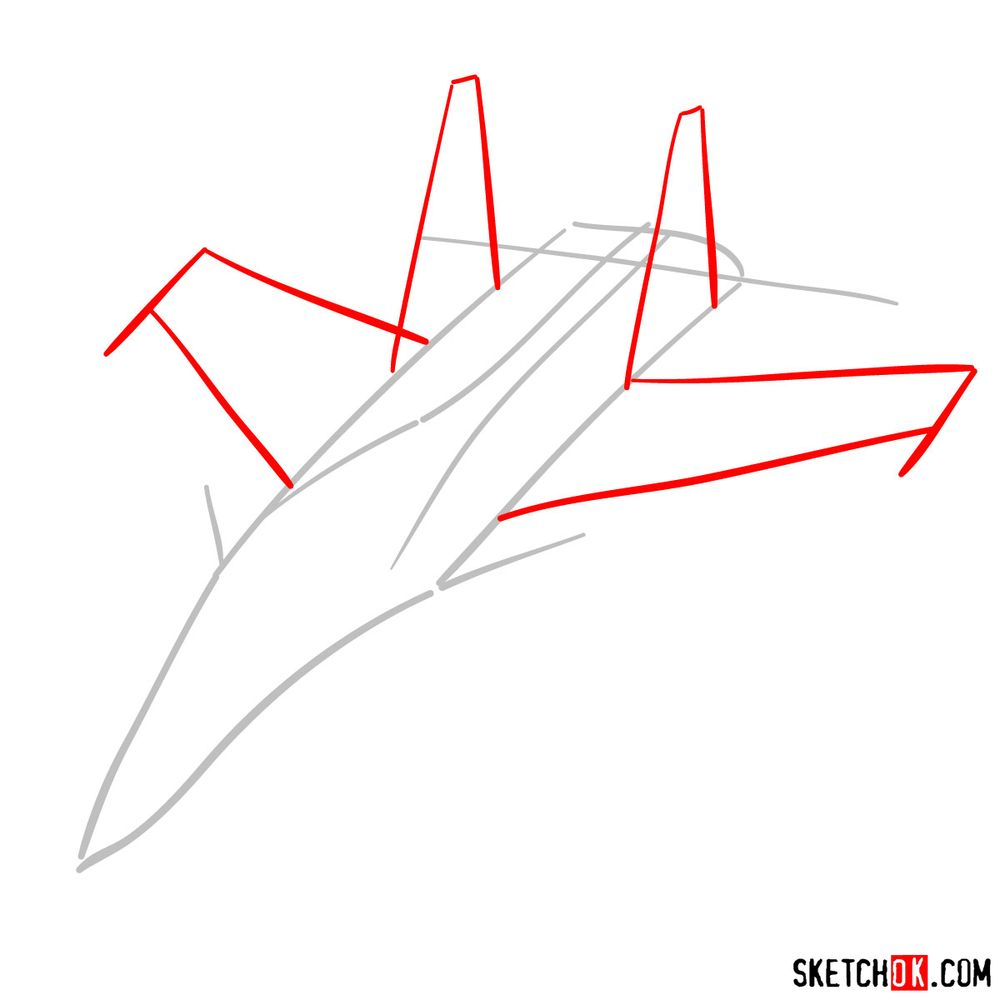 How to draw Su-30MKI (Flanker-H) - step 02
