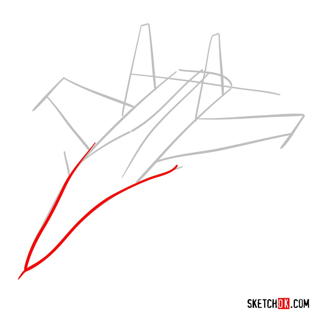 How to draw Su-30MKI (Flanker-H) - step 03