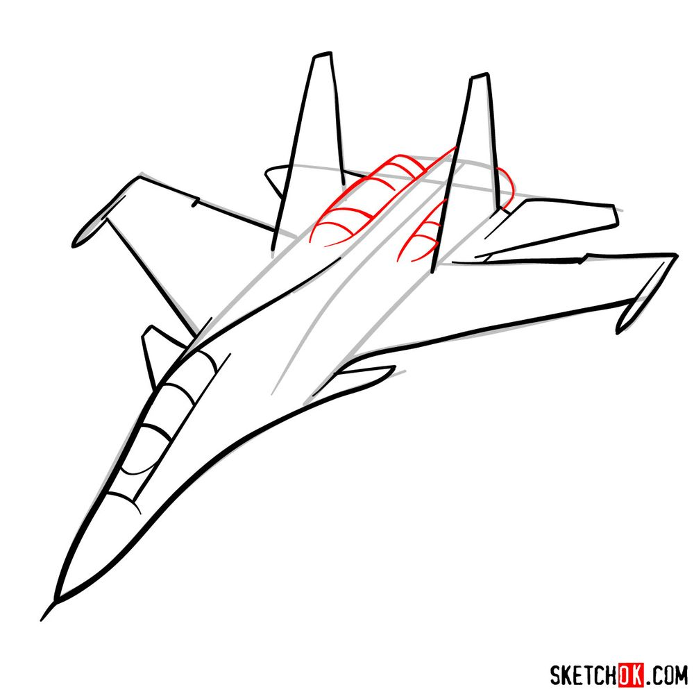 How to draw Su-30MKI (Flanker-H) - step 08