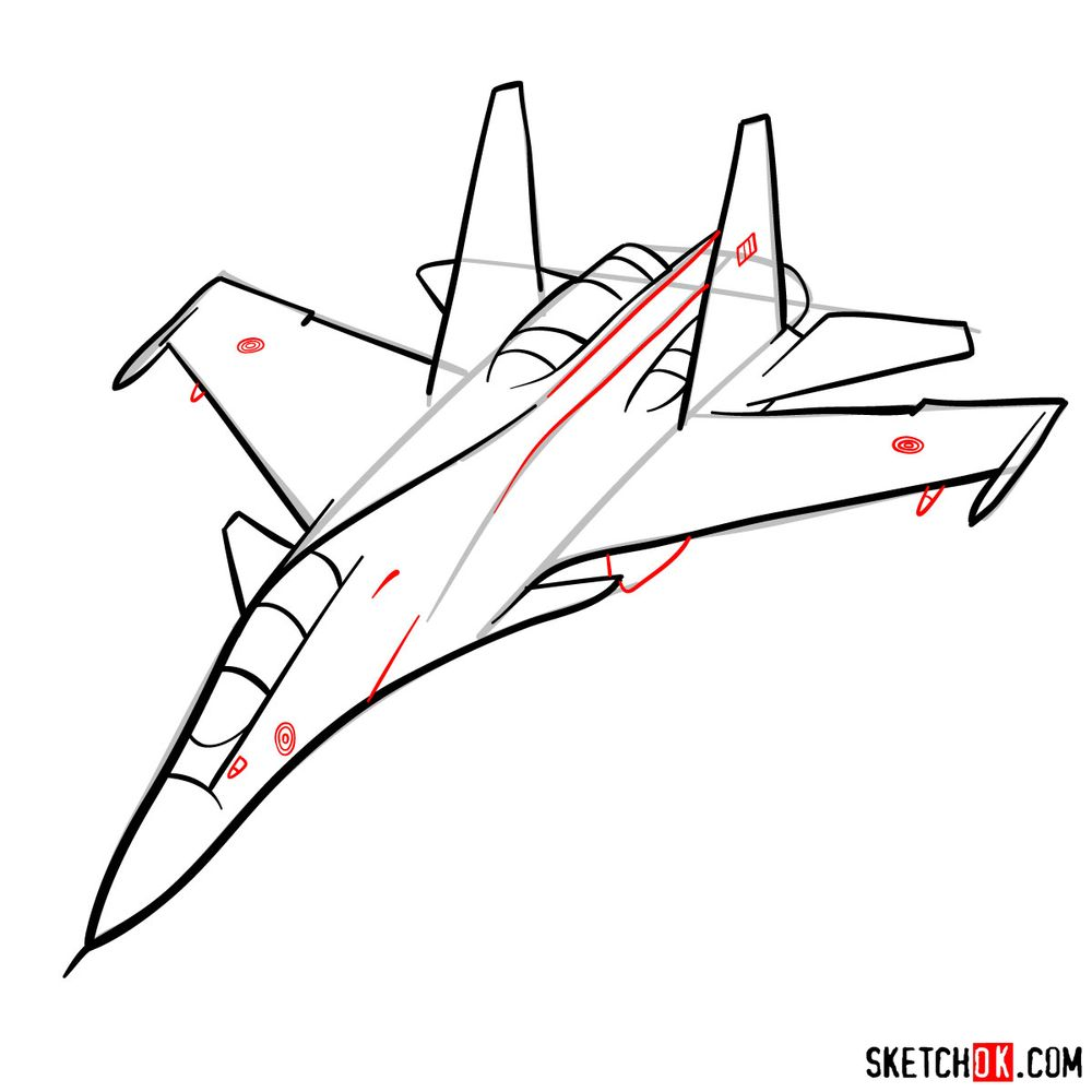 How to draw Su-30MKI (Flanker-H) - step 09