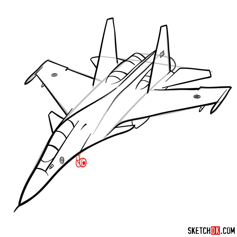 How to draw Su-30MKI (Flanker-H) - step 10