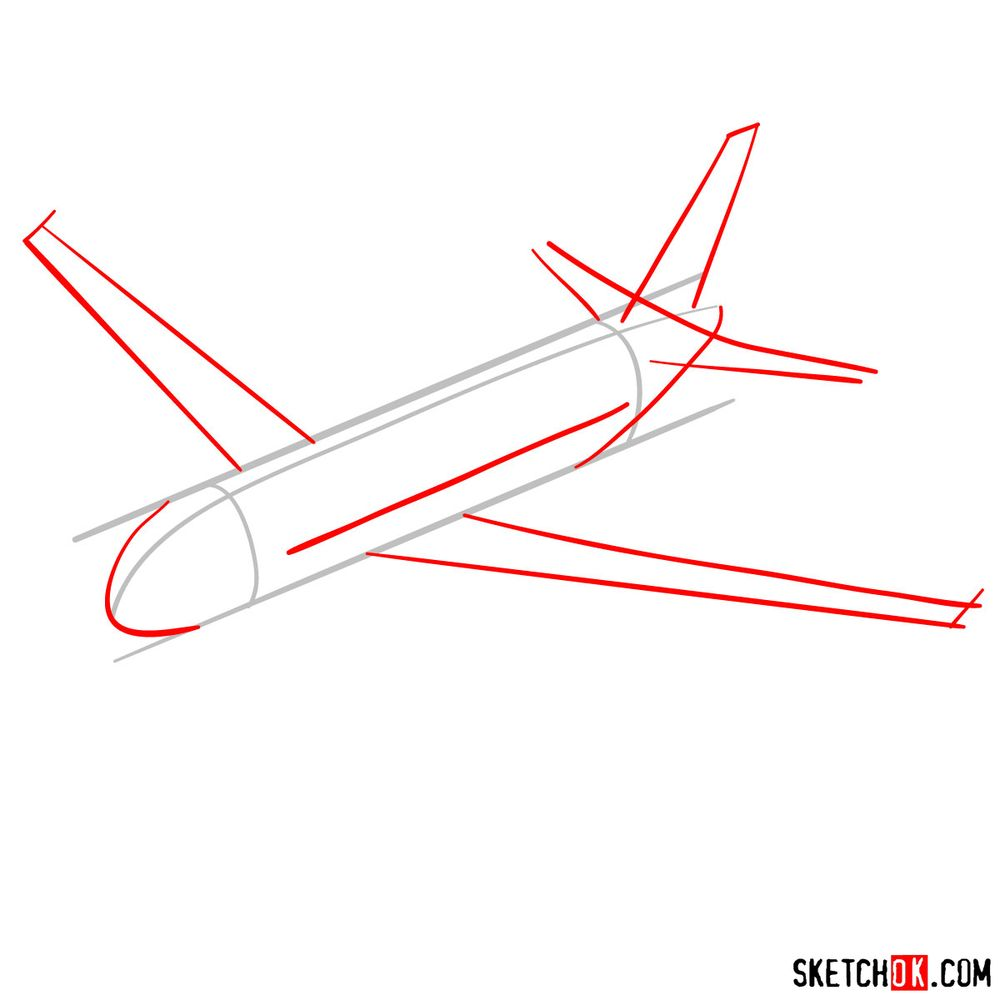 How to draw Airbus A320 - step 02