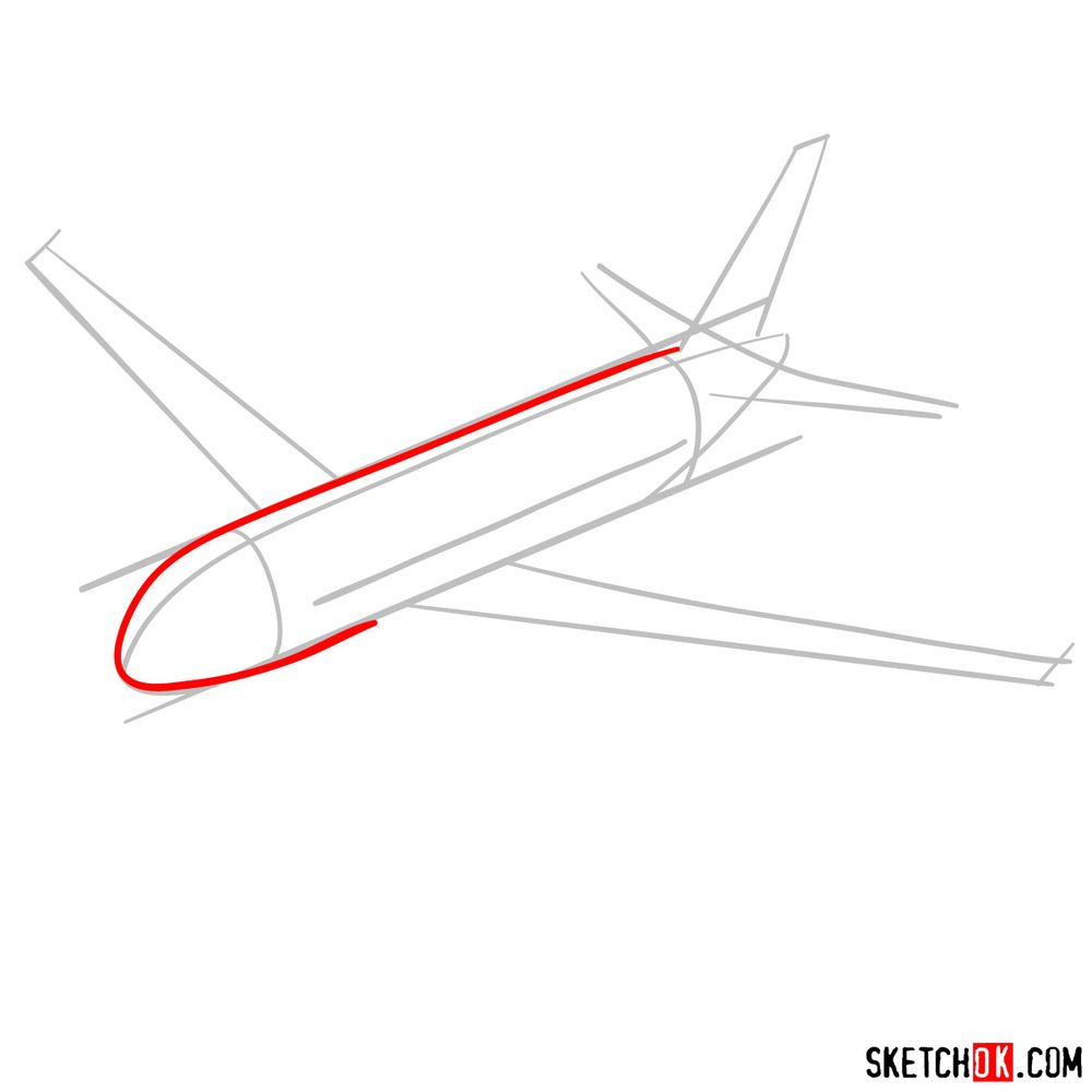 How to draw Airbus A320 - step 03