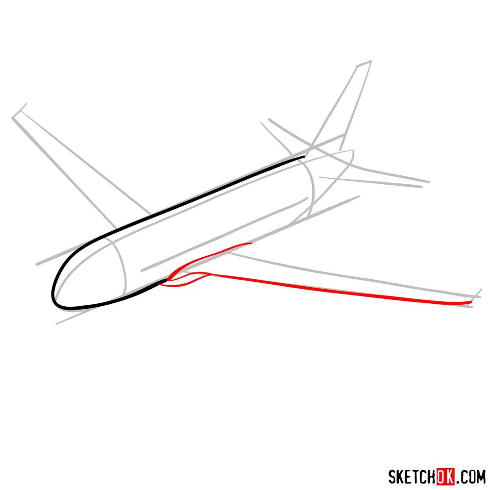 How to draw Airbus A320 - step 04