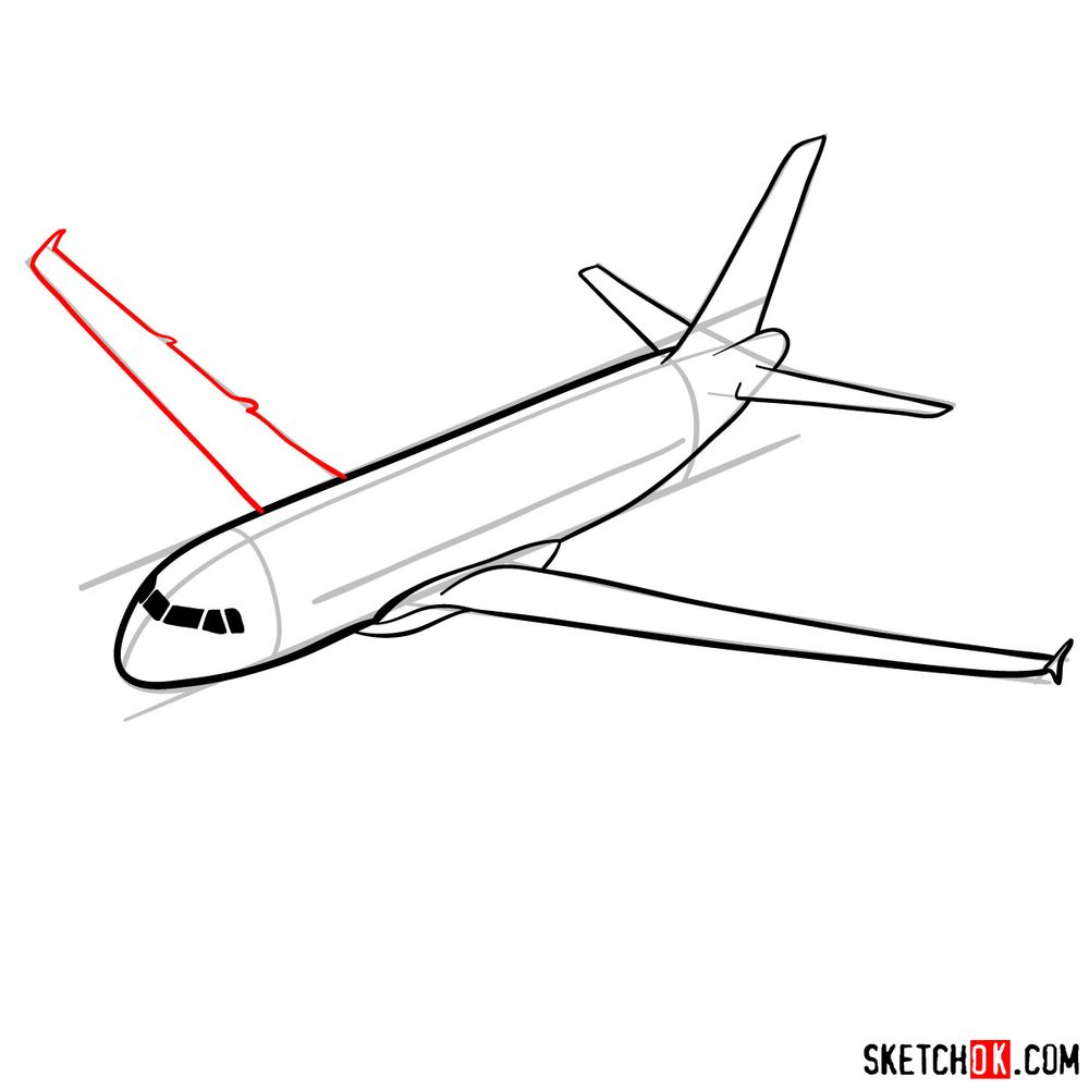 How to draw Airbus A320 - step 09