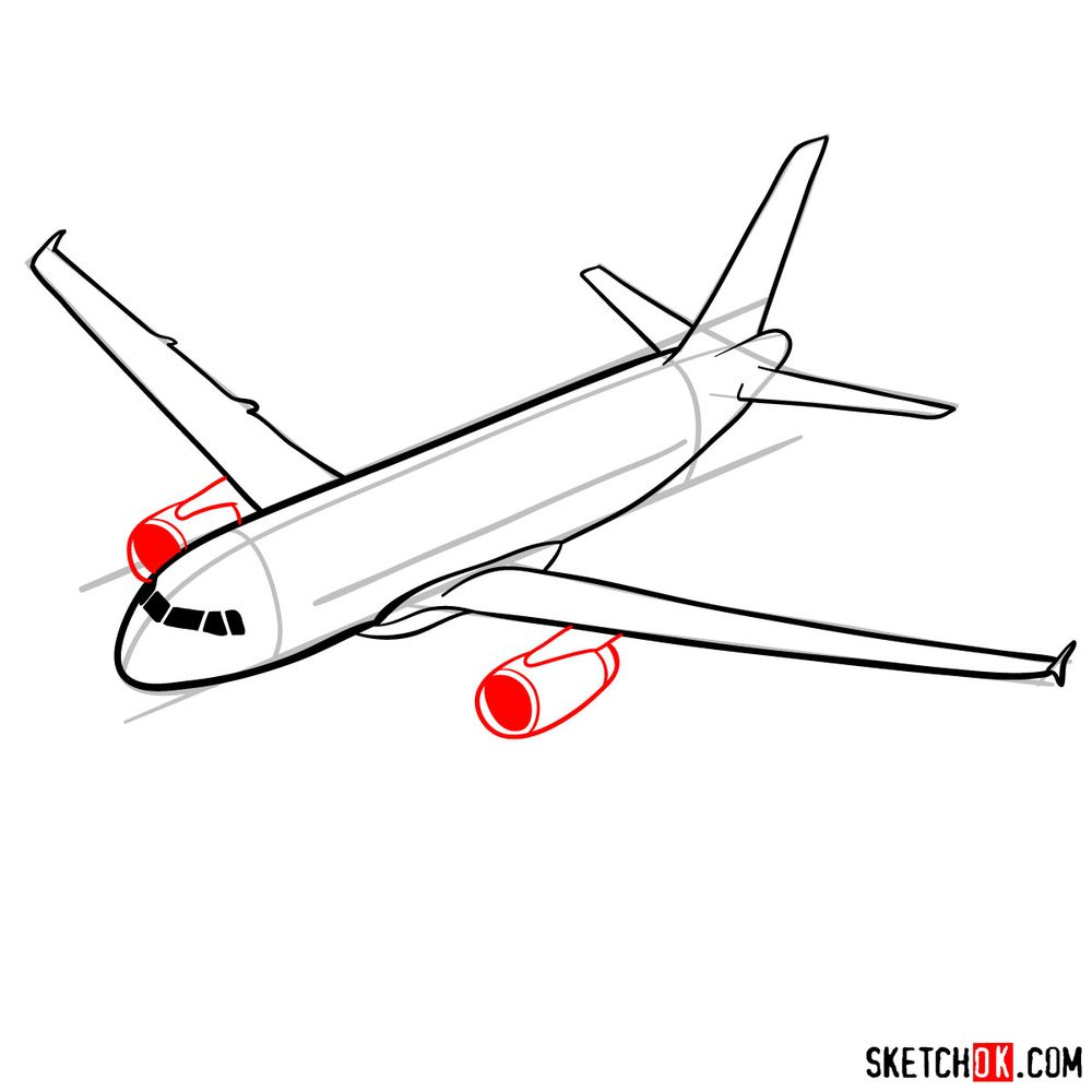 How to draw Airbus A320 - step 10