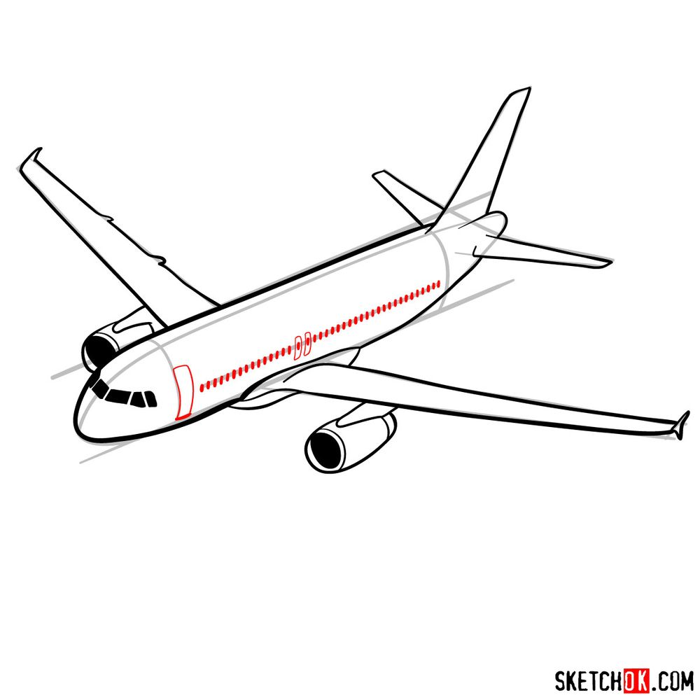 How to draw Airbus A320 - step 11