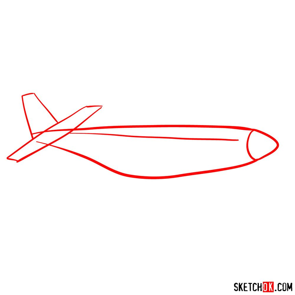 How to draw North American P-51 Mustang - step 01
