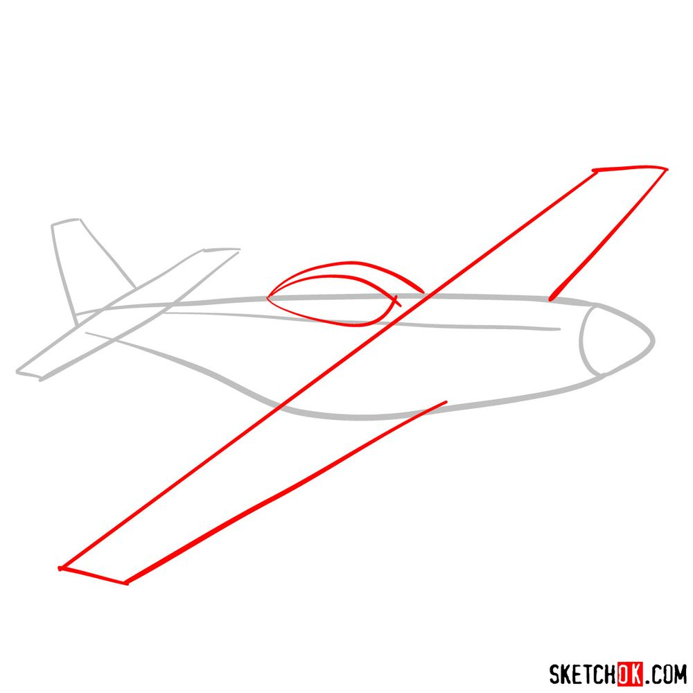 How to draw North American P-51 Mustang - step 02