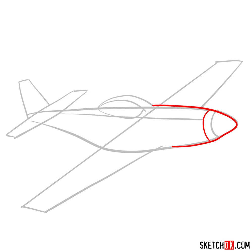 How to draw North American P-51 Mustang - step 03