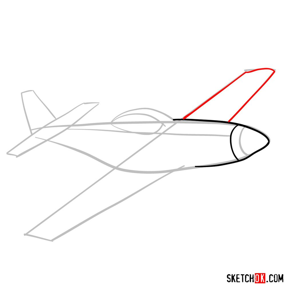 How to draw North American P-51 Mustang - step 04
