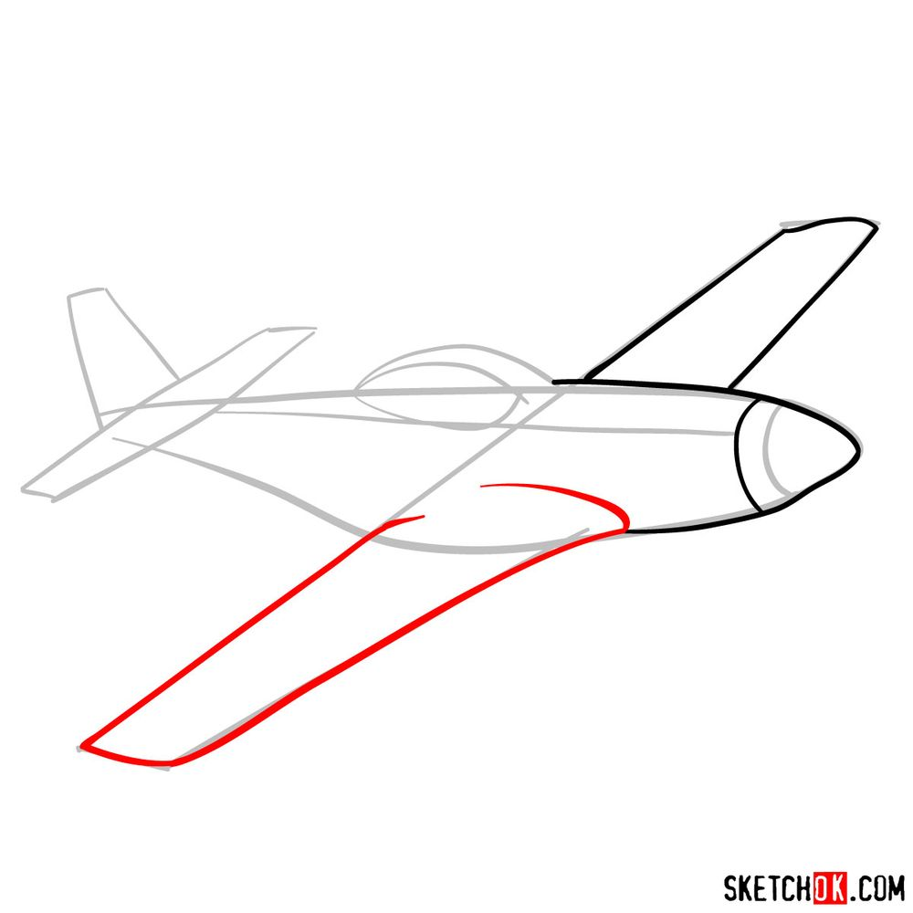 How to draw North American P-51 Mustang - step 05