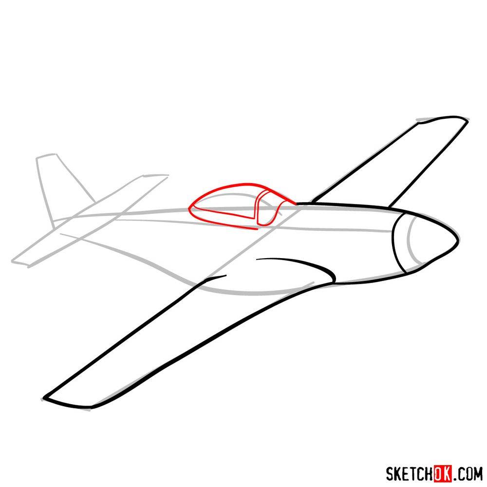 How to draw North American P-51 Mustang - step 06