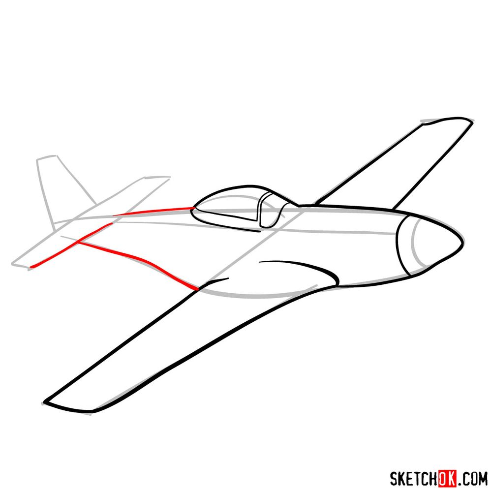 How to draw North American P-51 Mustang - step 07