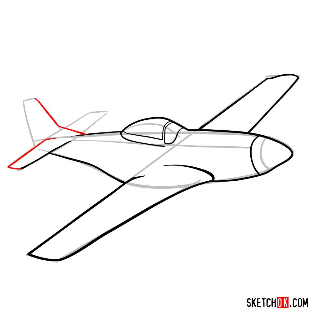 How to draw North American P-51 Mustang - step 08