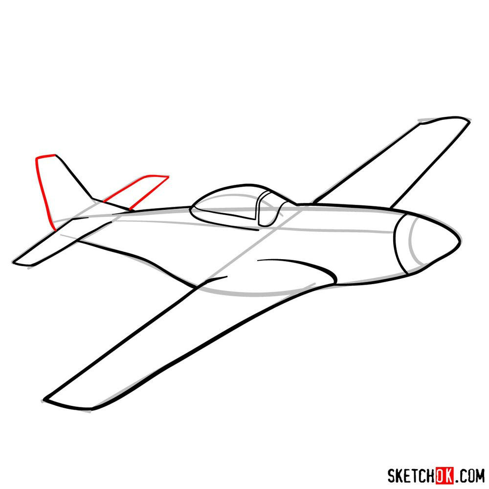How to draw North American P-51 Mustang - step 09