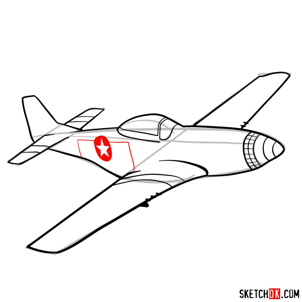 How to draw North American P-51 Mustang - step 12