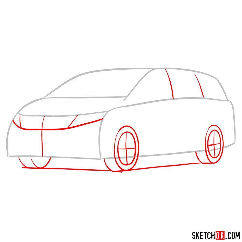 How to draw the 2020 Honda Odyssey Elite - step 02