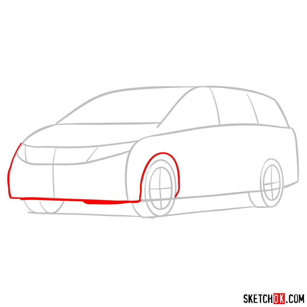How to draw the 2020 Honda Odyssey Elite - step 03