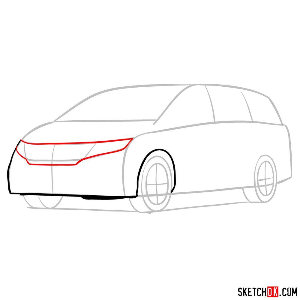 How to draw the 2020 Honda Odyssey Elite - step 04