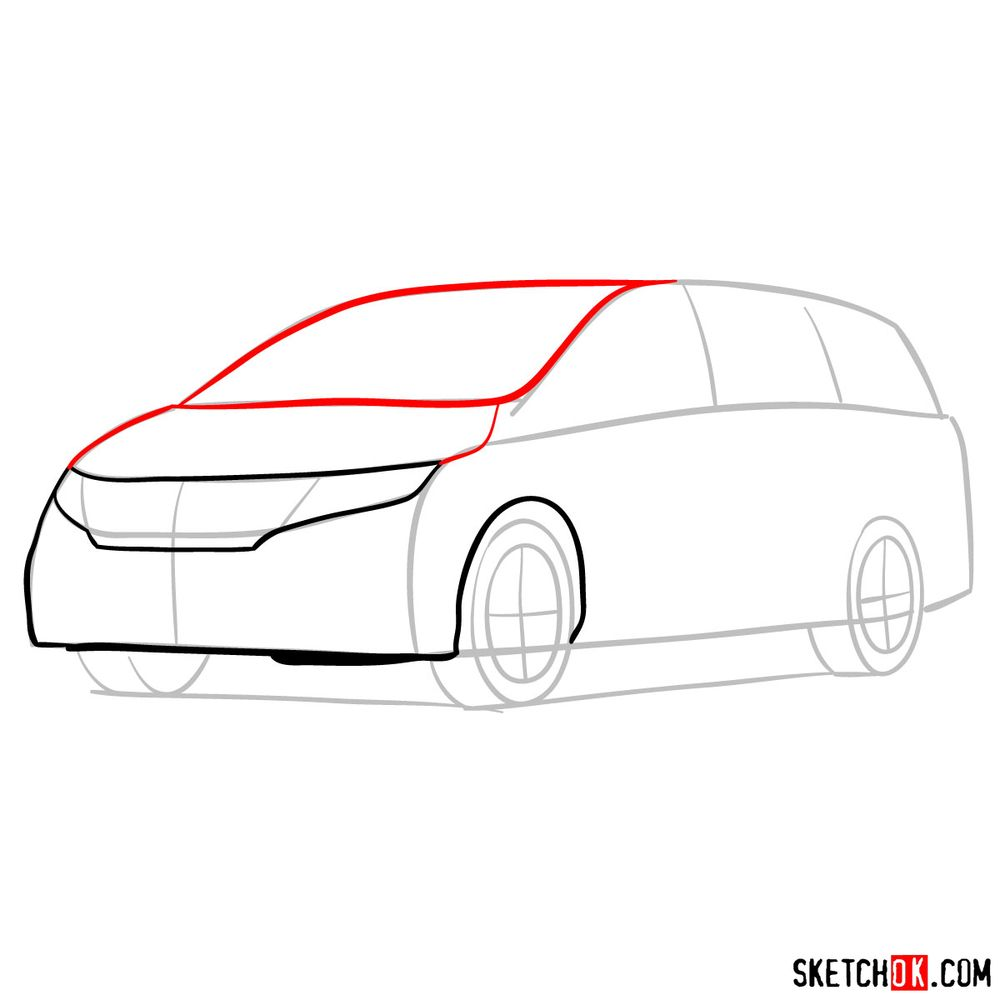 How to draw the 2020 Honda Odyssey Elite - step 05