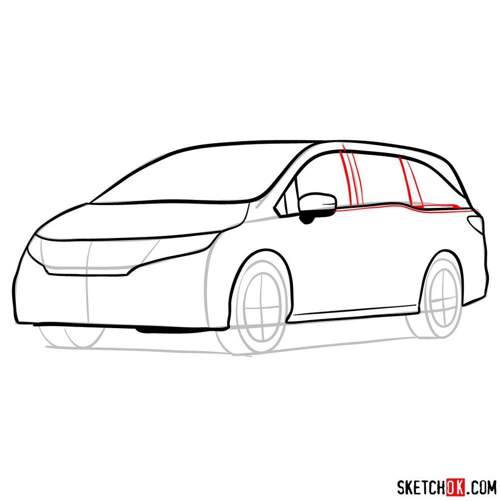 How to draw the 2020 Honda Odyssey Elite - step 09