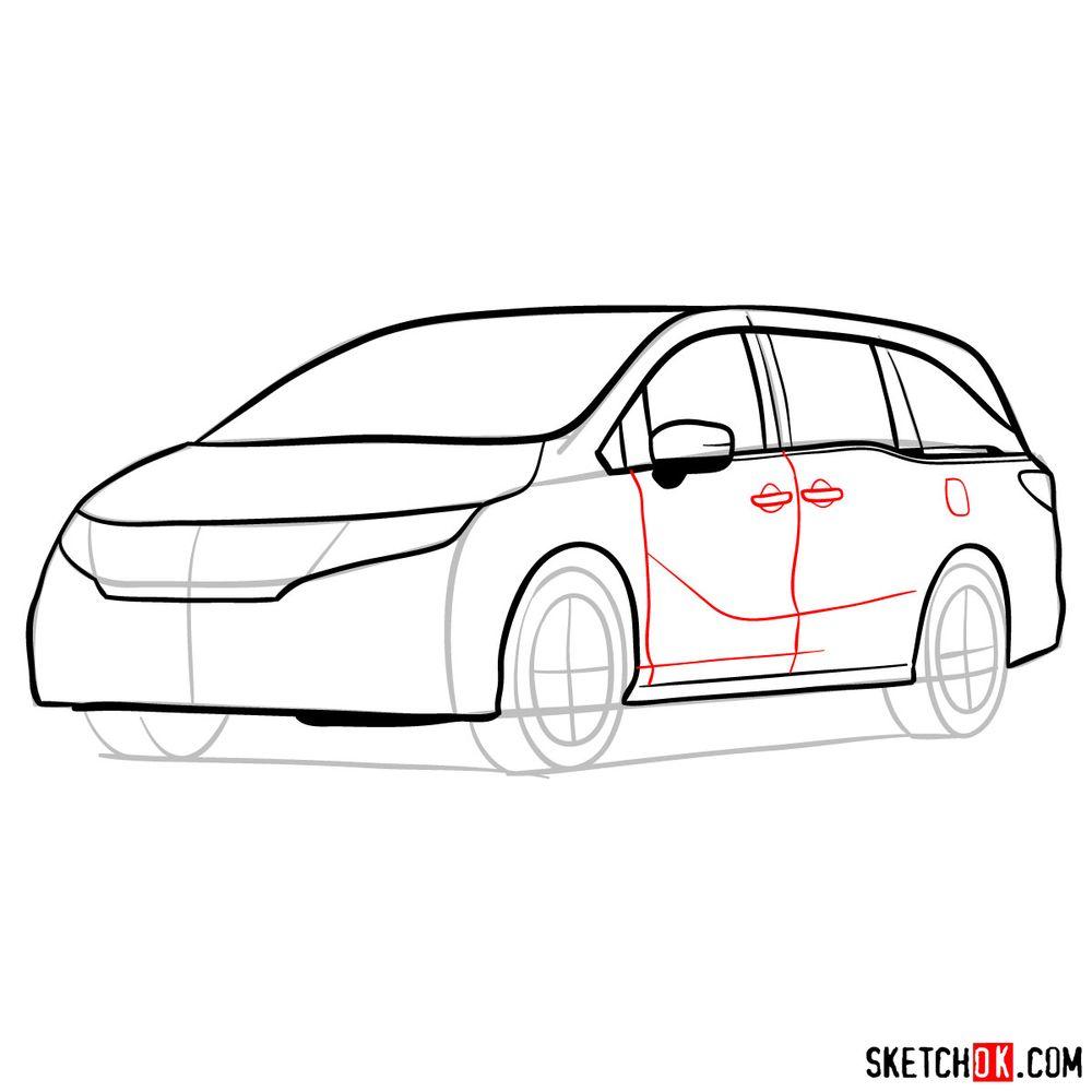 How to draw the 2020 Honda Odyssey Elite - step 10
