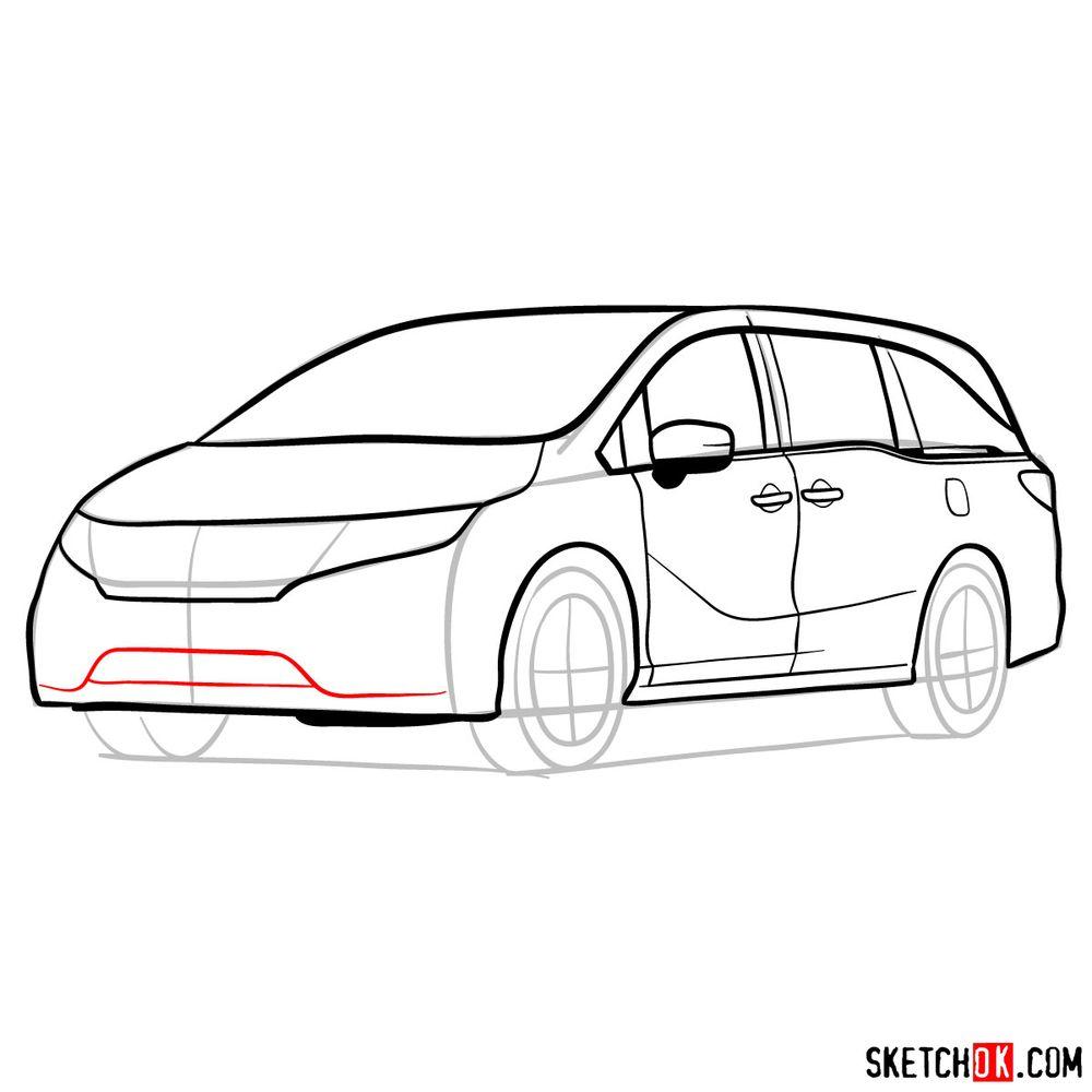 How to draw the 2020 Honda Odyssey Elite - step 11
